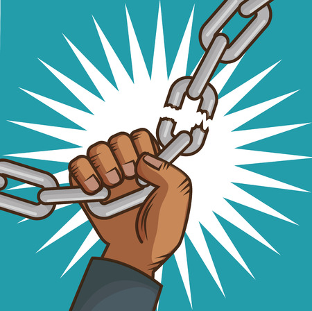 afro american persons hand breaking a chain  over white and teal background. Vector illustration.