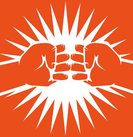 手は、オレンジ色の背景上のバンプ拳を描画されます。ベクトルの図。