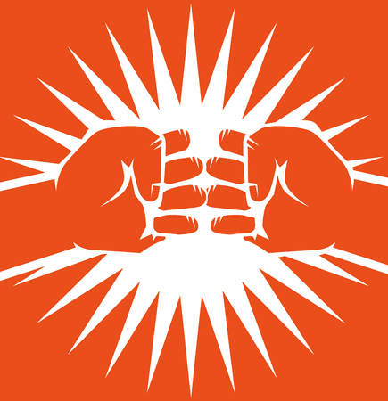 Hand drawn bumping fists over orange background. Vector illustration. Çizim