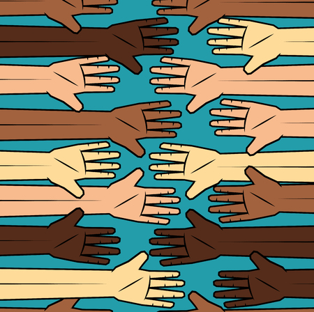 People of color and caucasian peoples hands over teal background. Vector illustration