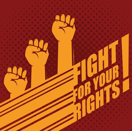주먹을 올리고 빨간색 배경 위에 권리 표시를 위해 싸우십시오. 벡터 일러스트 레이 션.