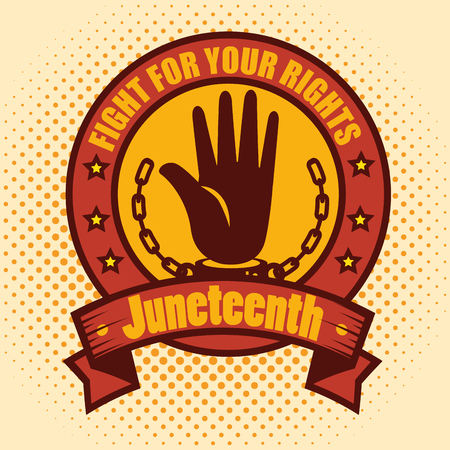 Hand silhouette with chain and fight for your rights sign icon yellow background. Vector illustration