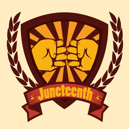 Hand drawns bumping fists shield with juneteenth sign and laurel wreaths over yellow background. Vector illustration. Illustration