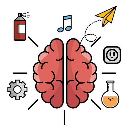 paint can: Brain with gear wheel, spray paint can, beam notes, paper plane, electric outlet and flask over white background. Vector illustration.
