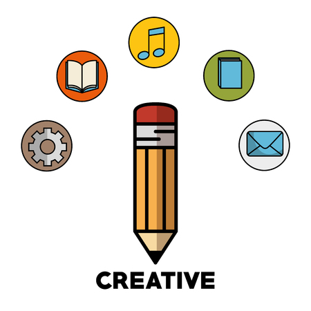Pencil, gear wheel, books, beam notes, and blue envelope over white background. Vector illustration. Illustration