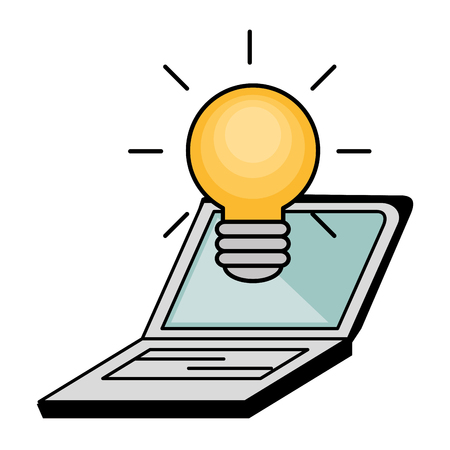 Laptop and yellow  light bulb over white background. Vector illustration.