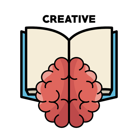 Brain, opened book and creative sign over white background. Vector illustration. Çizim