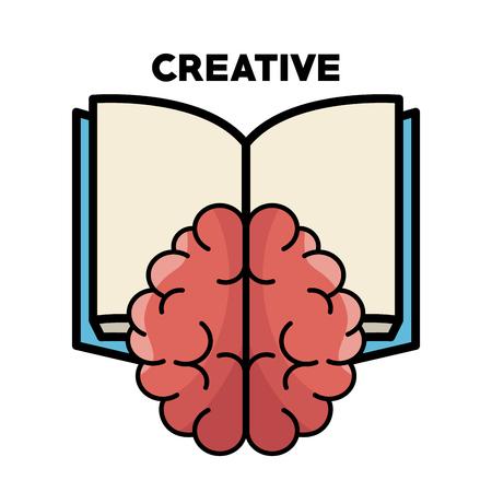 Hersenen, geopend boek en creatieve ondertekenen op witte achtergrond. Vector illustratie. Stock Illustratie