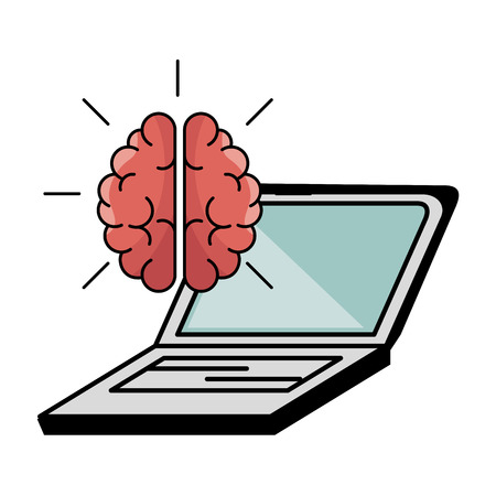 Brain and laptop over white background. Vector illustration.