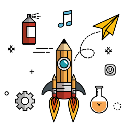 paint can: Pencil-shaped skyrocket with gearwheels, paint spray can, beam notes,  paper plane, flask and socket over white background. Vector illustration.