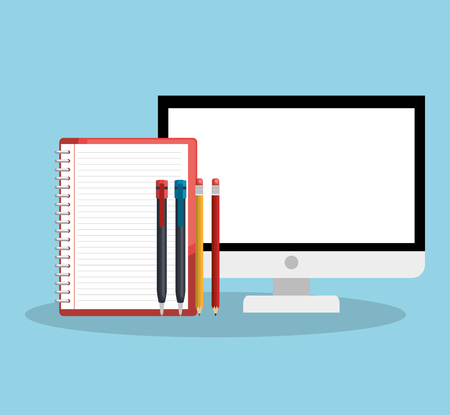 Notebook, pens and screen over blue background. Vector illustration. Illustration