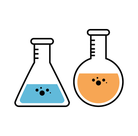Erlenmeyer and florence flasks with colorful fluids inside over white background. Vector illustration.