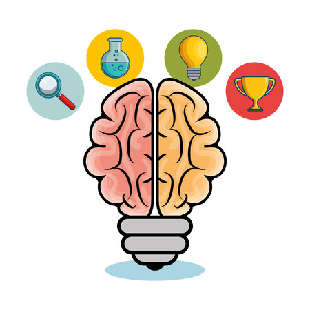 Brain shaped light bulb with science related icons over white background.