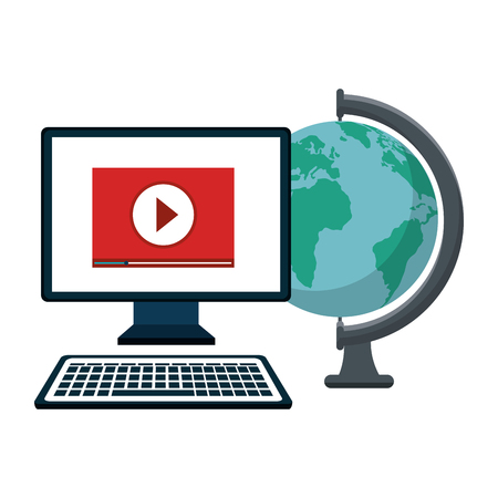 Computer playing a video and globe over white background. Vector illustration.