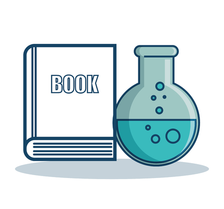 Florence flask and hand drawn book over white background. Vector illustration