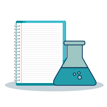 Erlenmeyer flask and notebook over white background. Vector illustration