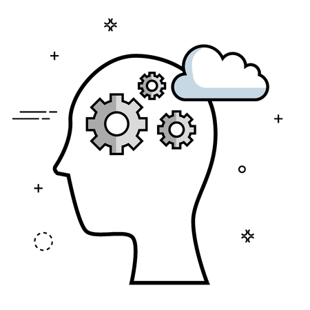 Head silhouette with gear wheels and cloud over white background. Vector illustration. Illustration