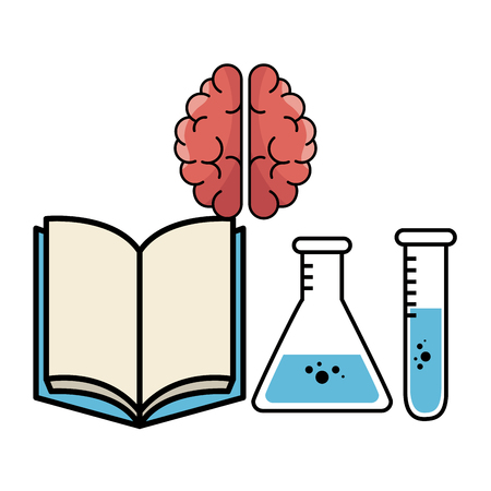 Opened book, brain, erlenmeyer flask and test tube over white background. Vector illustration. Illustration
