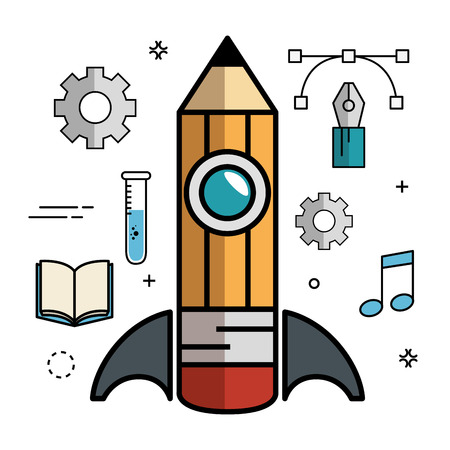 a solution tube: Pencil-shaped skyrocket with gearwheels, pen, lines, anchor points, beam notes and book over white background. Vector illustration.