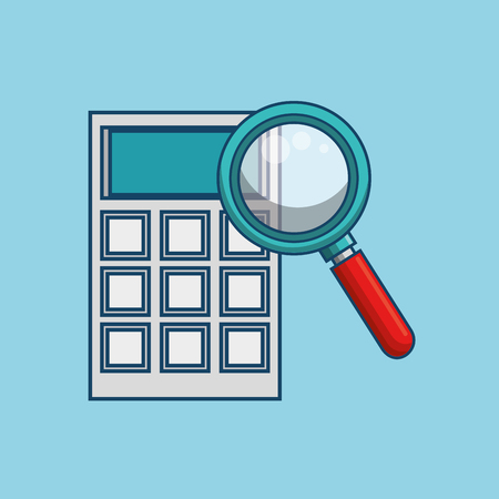 Magnifying glass and calculator over blue background. Vector illustration Illustration