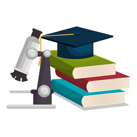 laptop: graduation cap, books, graduation cap and microscope over white background. Vector illustration Illustration