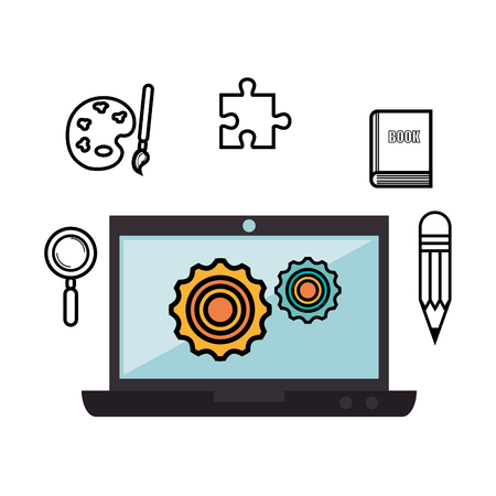 pc icon: Laptop, geal wheels and hand drawn items over white background. Vector illustration Illustration