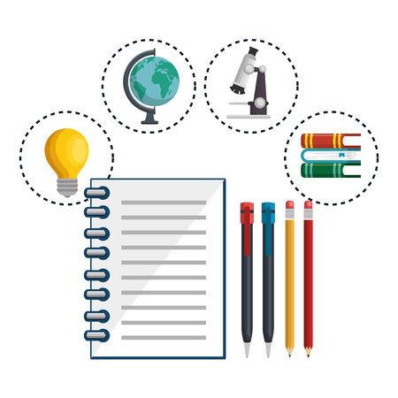 Notitieboekje en voorwerpen met betrekking tot het bestuderen over witte achtergrond. Vector illustratie