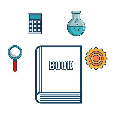 手描き本と白い背景の上の勉強に関連するオブジェクト。 ベクトルの図。