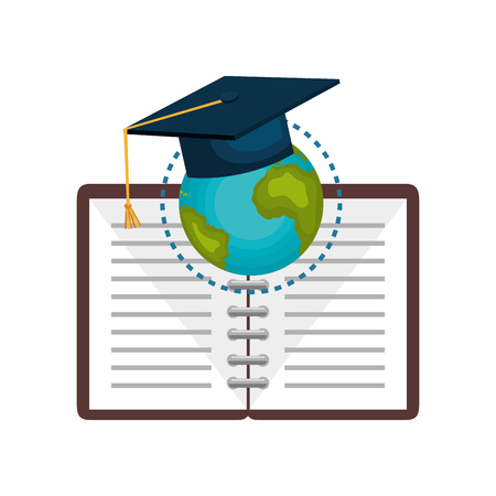 laptop: Globe with graduation cap and notebook over white background. Vector illustration. Illustration