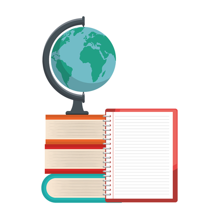 Globe, books and notebook over white background. Vector illustration. Illustration