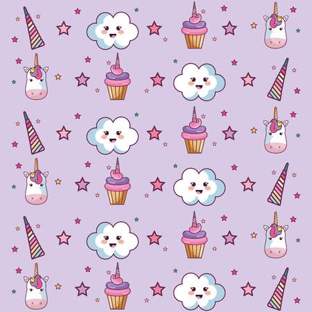 Modèle avec nuages, étoiles, cupcakes et licornes sur fond violet. Illustration vectorielle Banque d'images - 78103376