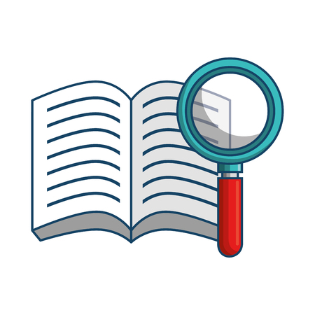 Opened book and magnifying glass over white background. Vector illustration