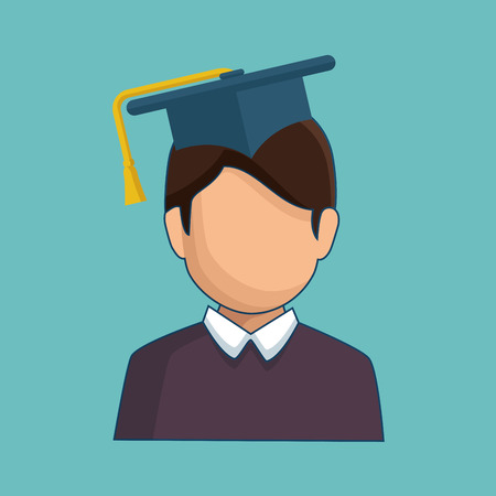 Avatar wearing a graduation cap over teal background. Vector illustration. Illustration