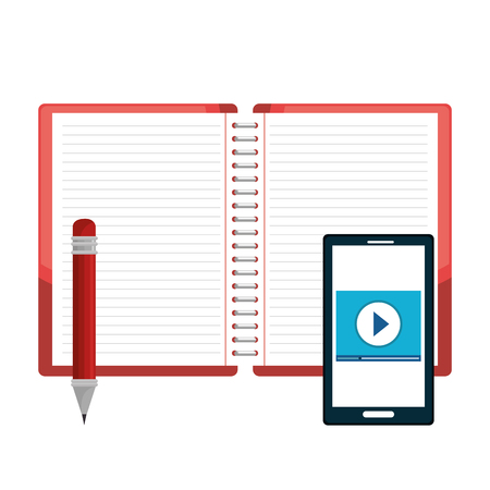 Opened book, pencil and smartphone over white background. Vector illustration Stock Vector - 78103377