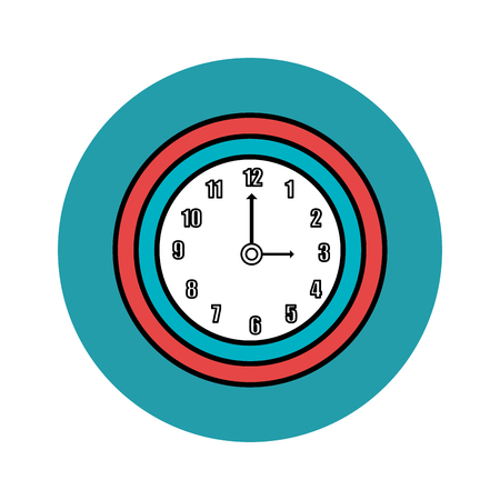Wall clock icon over teal and white background. Vector illustration,