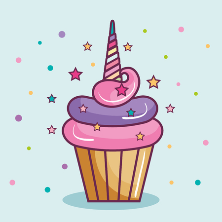 Colorful cupcake with horn over light blue background. Vector illustration.