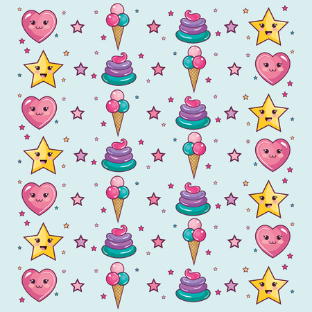 pattern with stars, hearts, ice cream and whipped cream over light background. Vector illustration.