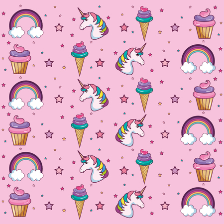 cupcake illustration: pattern with ice cream cone, cupcake, stars and rainbows over pink background. Vector illustration. Illustration