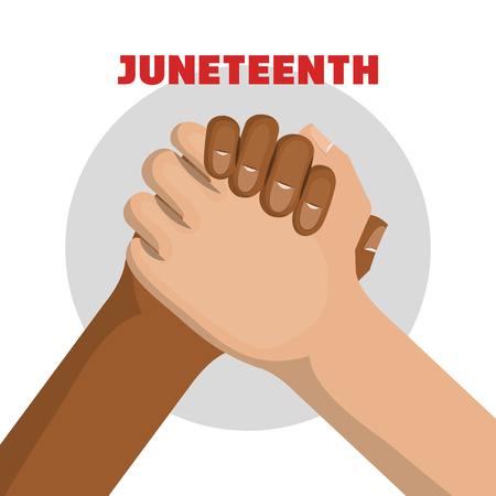 Afro american and caucasian people holding hands and juneteenth sign over white background. Vector illustration. Illustration