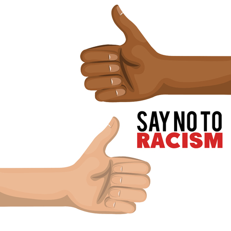 Afro american person and caucasian showing thumbs up over white background. Vector illustration.