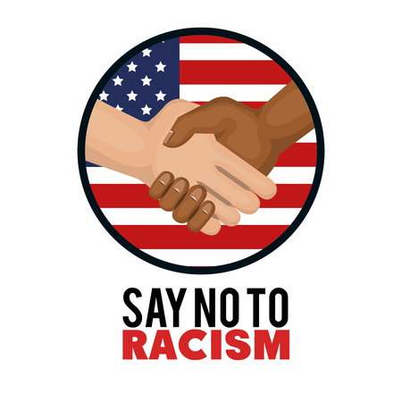 Afro american and caucasian people holding hands and american flag sign over white background. Vector illustration.