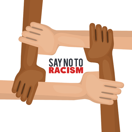 Four hands from afro american and caucasian people holding together like a square over white background. Vector illustration.