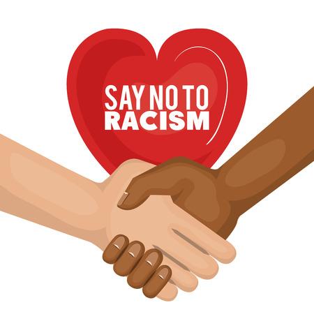 아프리카 계 미국인 및 백인 사람들 손을 잡고 흰색 배경 위에 인종 차별 심장 - 모양의 기호라고. 벡터 일러스트 레이 션.