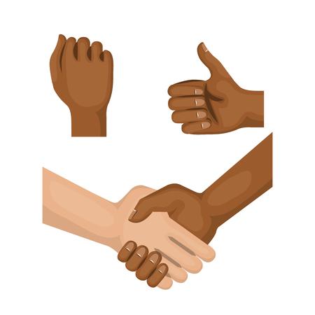 아프리카 계 미국인 및 백인 사람들이 손, 주먹 및 흰색 배경 위에 엄지 손가락을 잡고. 벡터 일러스트 레이 션.