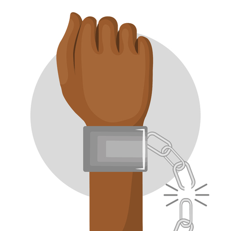 Afro american person fist being raised and broken chain over white background. Vector illustration.