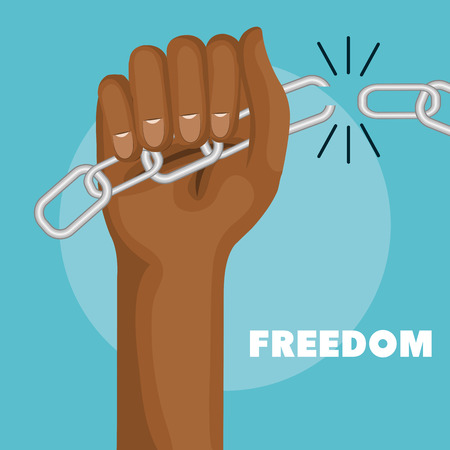 racismo: Afro american person hand holding broken chain over blue background. Vector illustration. Vectores