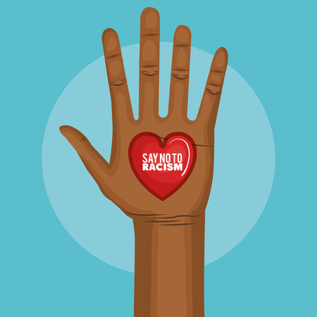 Afro american person raised hand and say no to racism heart-shaped sign over blue background. Vector illustration.