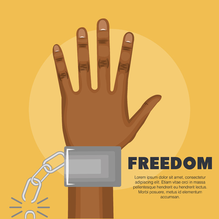 Afro american person raised hand and broken chain over yellow background. Vector illustration.