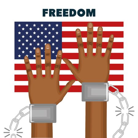 Afro american person hands with broken chain on wrists and american flag over white background. Vector illustration. Illustration