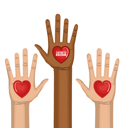 Afro american and caucasian people raised hands and say no to racism heart-shaped sign over white background. Vector illustration. Illustration